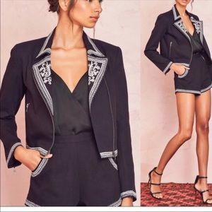 NWT Lovers + Friends Black Embroidered Jacket